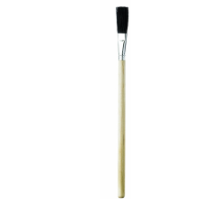 wooden paintbrush with black bristles for spreading glue and adhesives